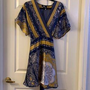 Navy & Gold Faux Wrap Mini Dress